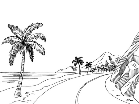 Sea coast road graphic art black white landscape sketch illustration