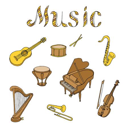 instrument de musique jeu graphique brun art couleur jaune beige illustration isolé Vecteurs