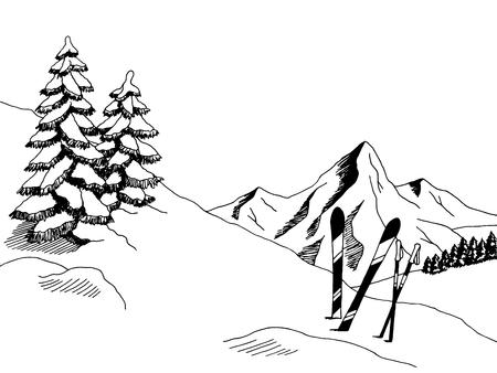 Montagne Ski art graphique noir blanc paysage esquisse illustration vecteur