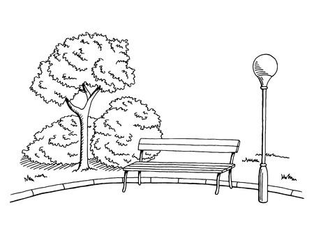 Park graphic art black white bench lamp landscape sketch illustration vector Vettoriali