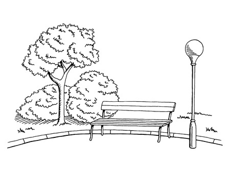 Park graphic art black white bench lamp landscape sketch illustration vector Ilustração