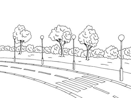 crosswalk: la carretera de cruce del arte gr�fico negro paisaje blanco ilustraci�n vectorial