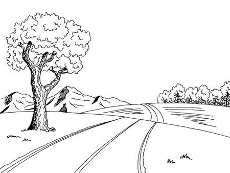 árbol de carretera de montaña del arte gráfico negro paisaje blanco ilustración vectorial