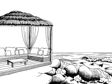 costa del Mar del arte gráfico del pabellón negro blanco bosquejo del paisaje ilustración vectorial