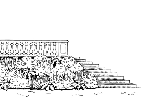 balustrade: Garden stairs graphic art park black white landscape sketch illustration vector