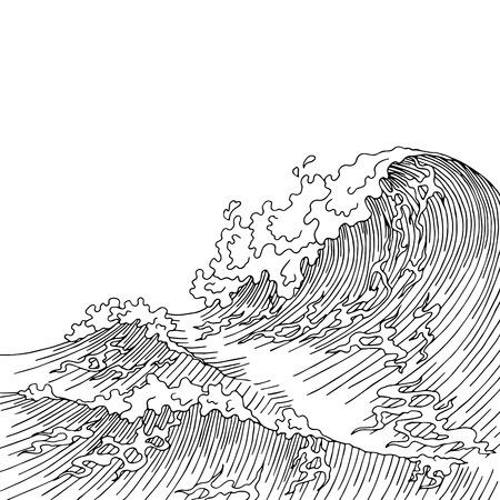 Las olas del mar del arte gráfico de la resaca del bosquejo blanco negro paisaje ilustración vectorial
