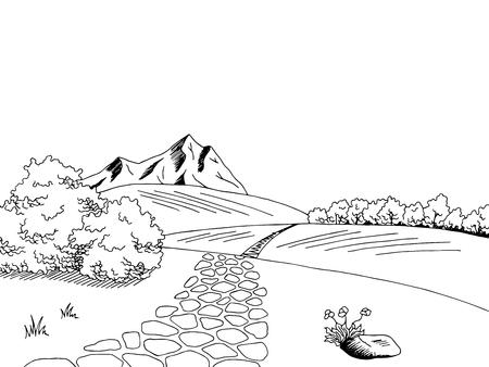 Camino viejo del arte gráfico del bosquejo blanco negro paisaje ilustración vectorial
