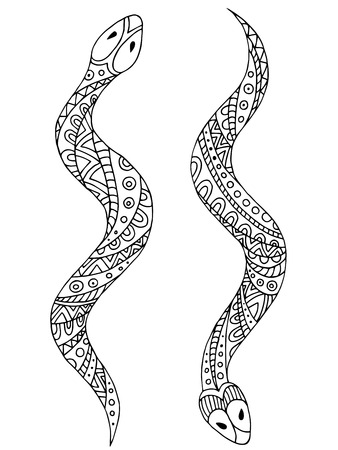 Snake dier grafisch zwart-wit geïsoleerde illustratie vector