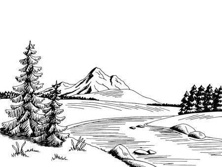 Mountain river graphic art black white landscape sketch illustration vector Vectores