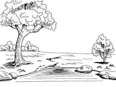 Parc arbre lac art graphique noir blanc paysage esquisse illustration vecteur Vecteurs