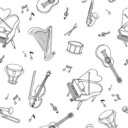 instrument de musique art graphique noir blanc seamless esquisse illustration vecteur