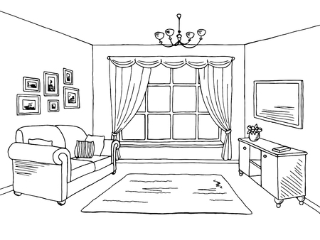 Woonkamer grafisch zwart-wit interieur schets illustratie vector Stock Illustratie