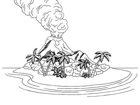 ash cloud: Volcano island mountain sea graphic art black white sketch landscape illustration vector