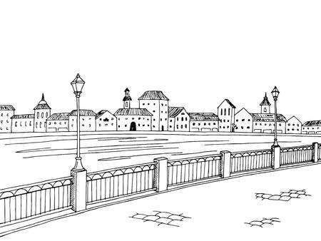 río de la ciudad del arte gráfico negro blanco paisaje ilustración vectorial boceto