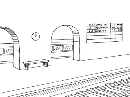 Railway station platform train graphic black white sketch illustration vector