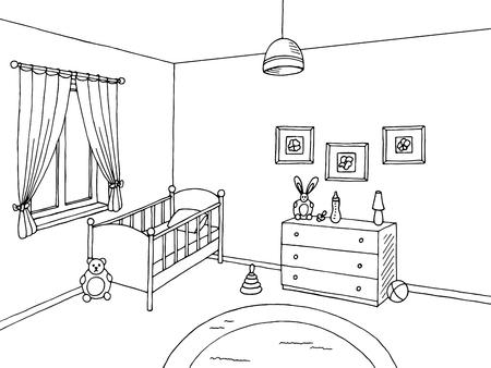 赤ちゃんルーム ブラック ホワイト インテリア グラフィック アート スケッチ イラスト  イラスト・ベクター素材