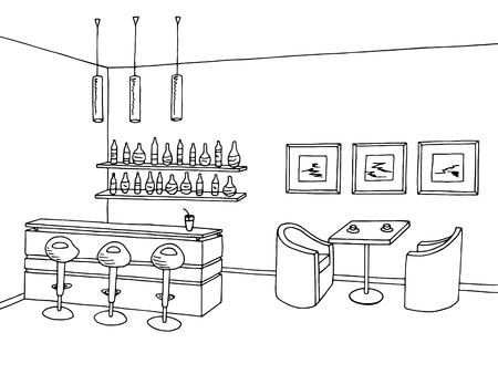 bar interior: Cafe bar interior graphic art black white sketch illustration vector