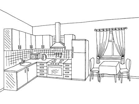 Kitchen room interior black white graphic art sketch illustration vector