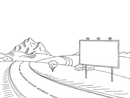 Road billboard graphic art black white landscape sketch illustration vector Vectores