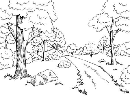 森林道グラフィック アート黒白い風景スケッチ イラスト