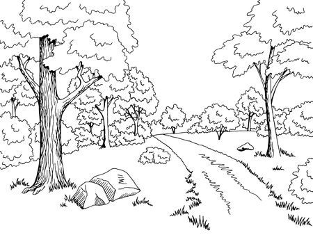 Forest road graphic art black white landscape sketch illustration vector Stock Illustratie