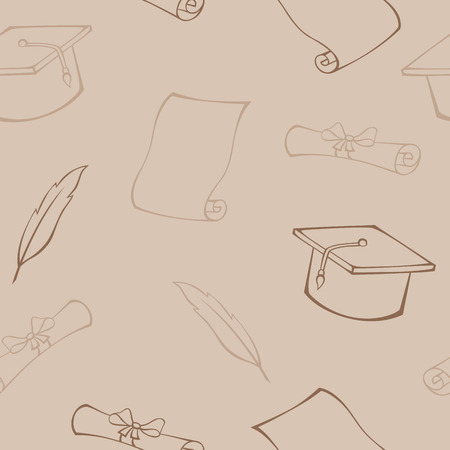 hat with feather: Education hat diploma feather beige seamless pattern illustration vector Illustration