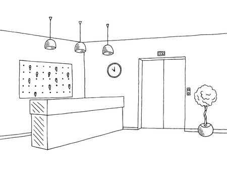 Hotel lobby reception black white graphic art interior sketch illustration vector
