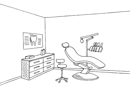 Dentist office clinic graphic art black white sketch illustration vector