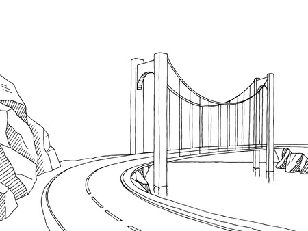 Bridge graphic art black white landscape sketch illustration vector