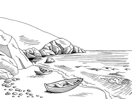 Sea boat graphic art black white landscape sketch illustration vector