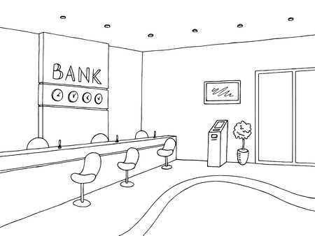 Interior bank graphic art black white sketch illustration vector