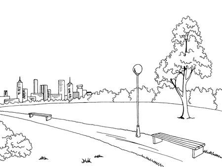 Park graphic art black white bench lamp landscape sketch illustration vector Illusztráció