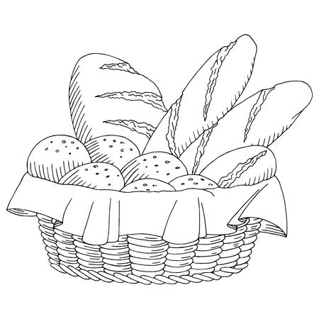 Corbeille à pain nourriture art graphique noir blanc isolé, vecteur, Illustration croquis