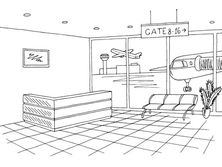 Airport black white interior graphic art sketch illustration vector