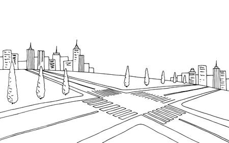 crossroad: Crossroad graphic art black white landscape sketch illustration vector