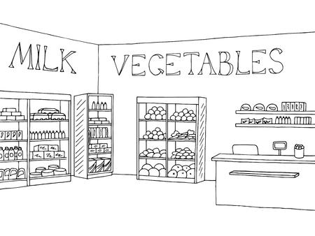 食料品店の店インテリア黒白いグラフィック スケッチ イラスト