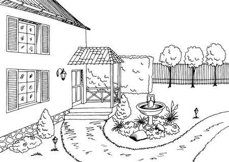 Tuin grafische zwart-wit landschap schets illustratie vector Vector Illustratie