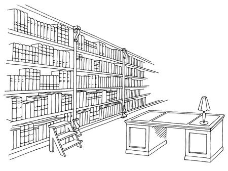 Library room interior black white graphic sketch illustration vector
