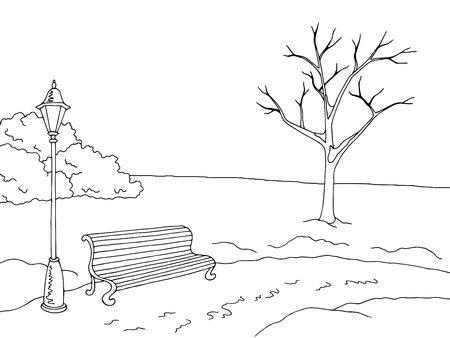 on white: Winter park landscape graphic black white sketch illustration vector