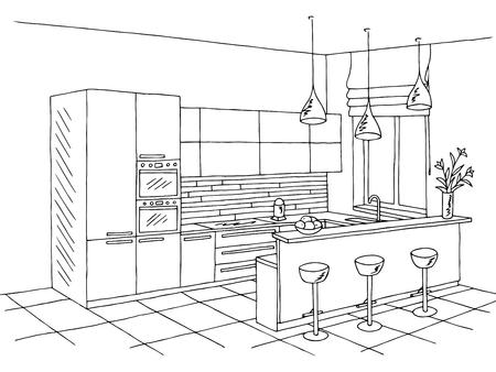 Kitchen room interior black white graphic art sketch illustration Vectores