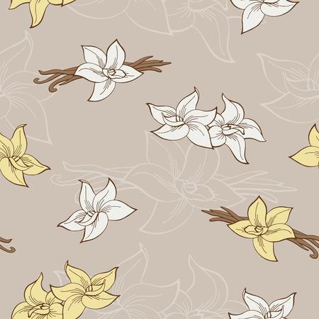 Vanilla pod flor gráfico bege padrão sem emenda da ilustração do vetor Foto de archivo - 68815808