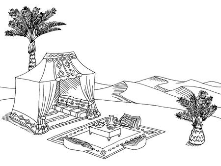 Deserto tenda grafica in bianco paesaggio bianco schizzo illustrazione vettoriale