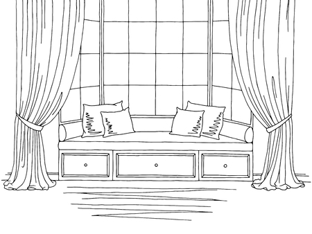 Bay window graphic black white interior sketch illustration vector Ilustração