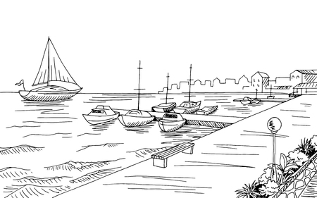 Seafront pier graphic yacht black white landscape sketch illustration vector