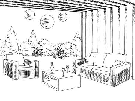 patio: Patio garden graphic black white sketch illustration vector Illustration