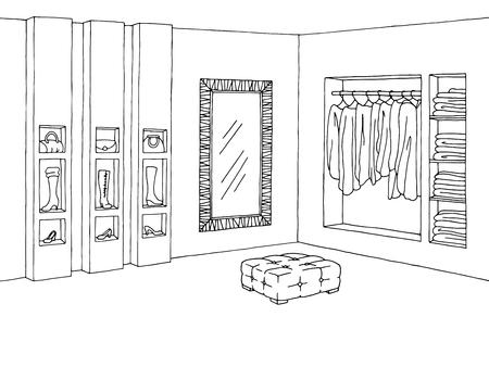 Shop interior graphic black white sketch illustration vector