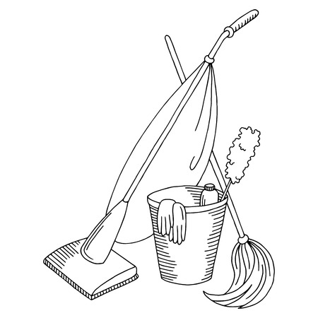 Cleaning graphic set black white isolated sketch illustration vector