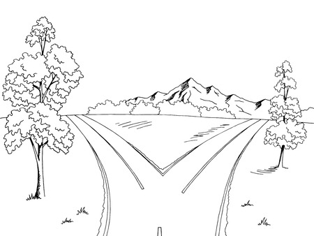 Road fork graphic black white landscape sketch illustration vector 矢量图像