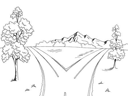 Road fork graphic black white landscape sketch illustration vector Иллюстрация