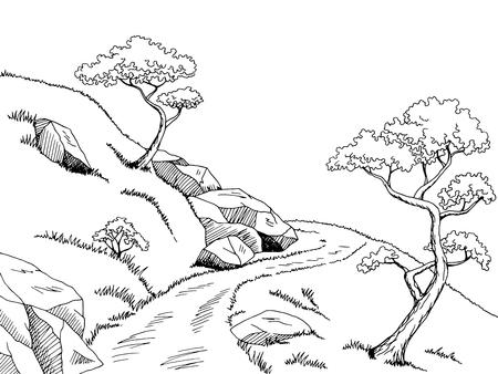 on white: Mountain road graphic black white landscape sketch illustration vector